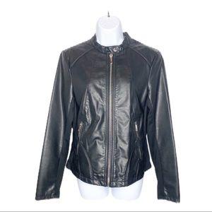 KENNETH COLE Black Vegan Leather Moto Jacket M